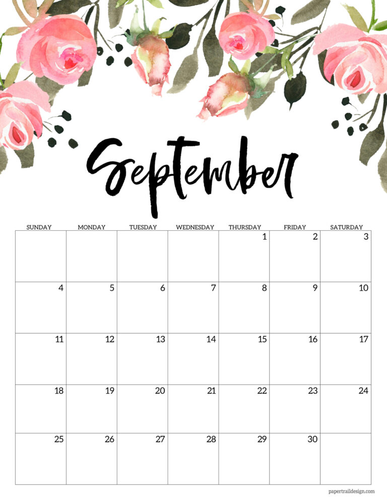 Free 2022 Calendar Printable - Floral | Paper Trail Design With Calendar 2022 February Floral