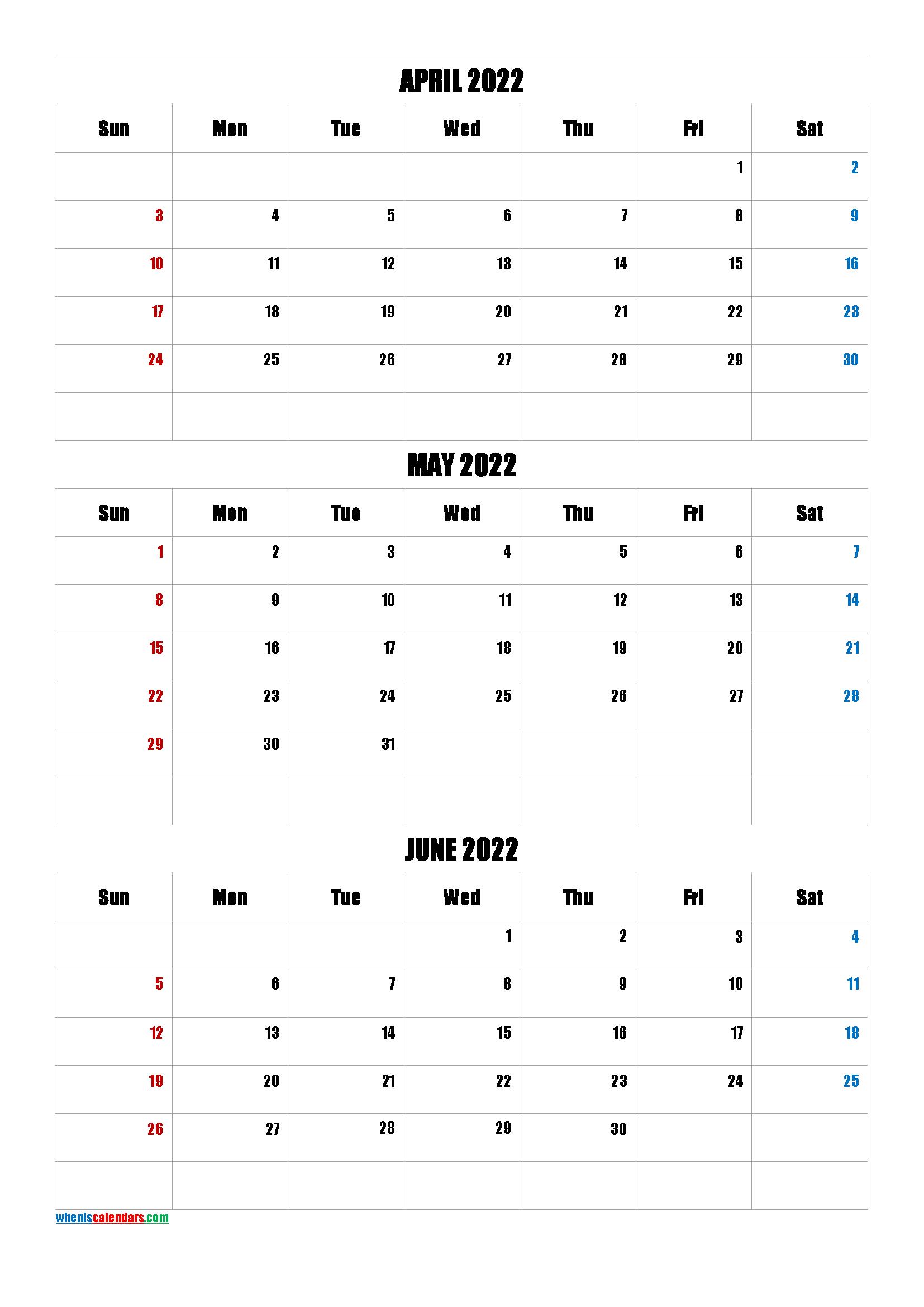 Free April May June 2022 Calendar [Q1-Q2-Q3-Q4] | Calendar inside January February March April May Calendar