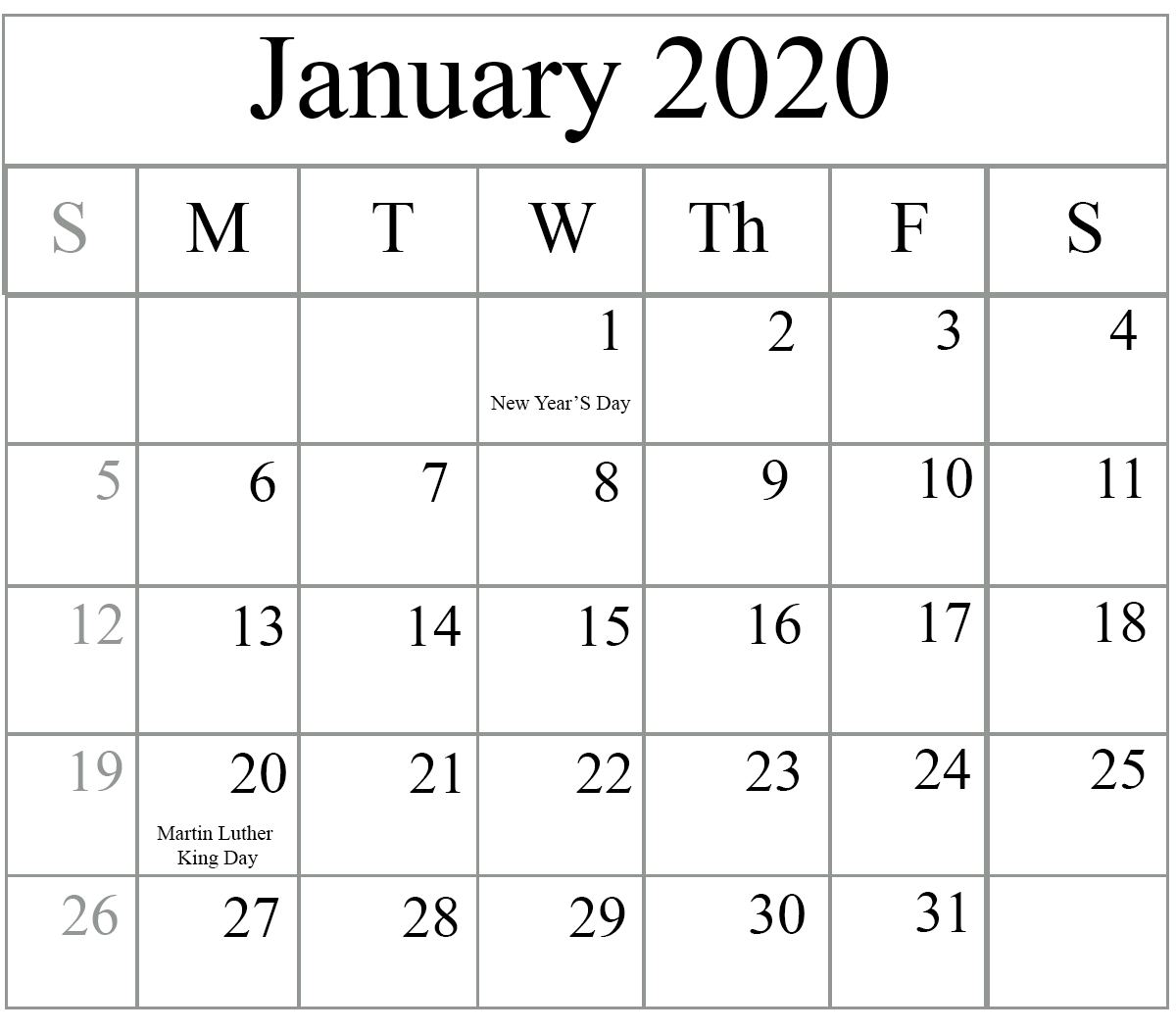 Free Blank January 2020 Calendar Printable In Pdf, Word, Excel Intended For Full Page January Calendar