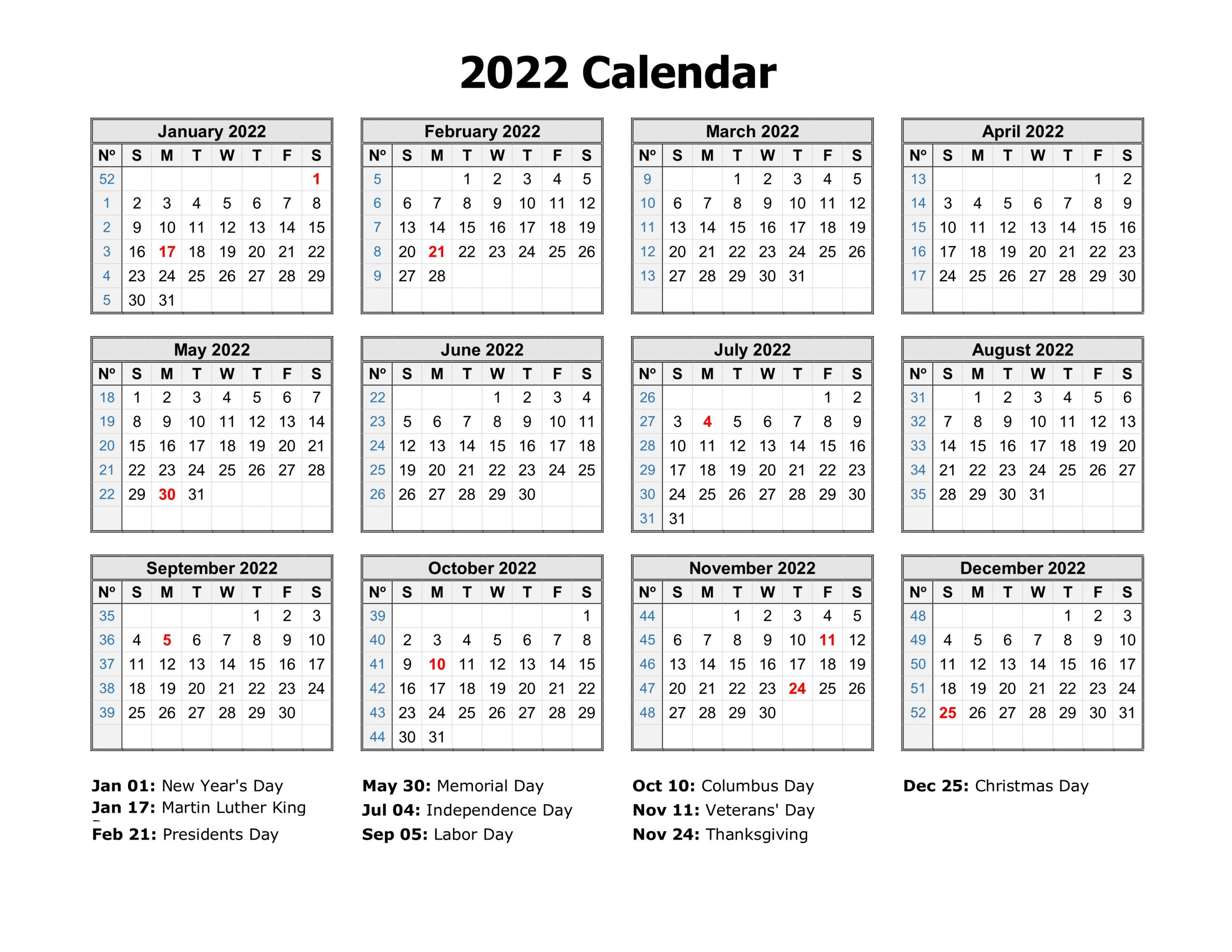 Free Download Printable Calendar 2022 In One Page, Clean Regarding January 2022 Calendar Large Font