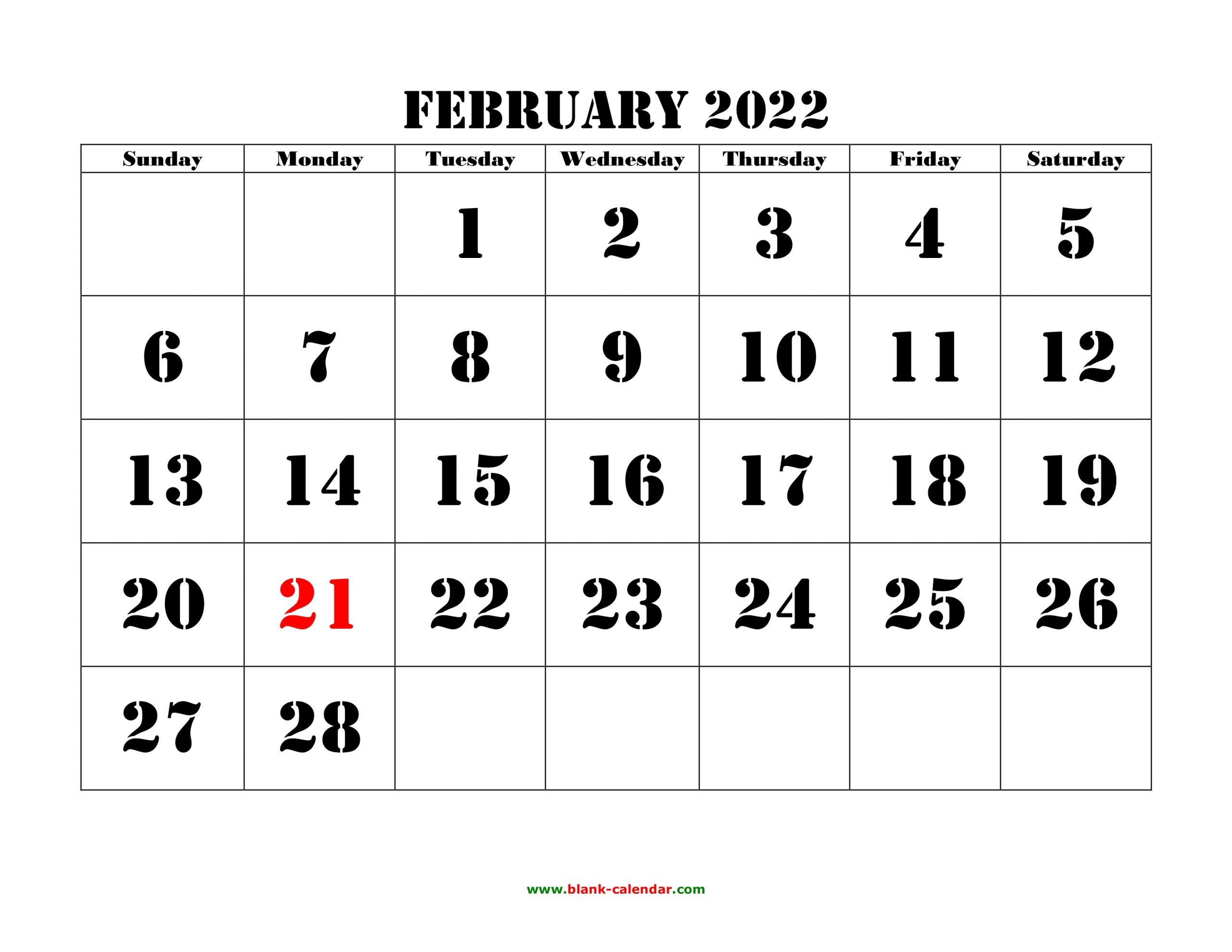 Free Download Printable February 2022 Calendar, Large Font Within February 2022 Calendar Printable