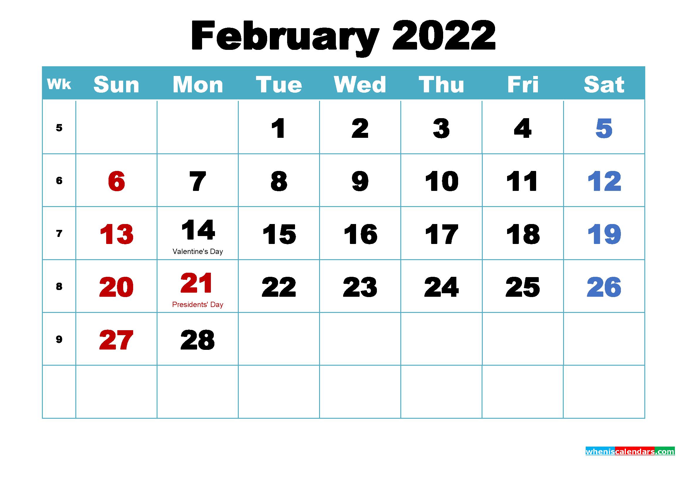 Free February 2022 Desktop Calendar High Resolution Pertaining To February 2022 Month Calendar Page