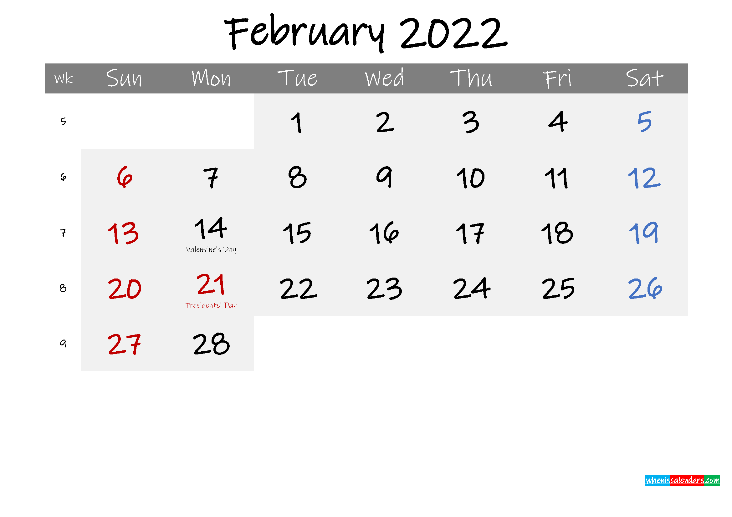 Free February 2022 Monthly Calendar Template Word Regarding Free Printable Feb 2022 Calendar Templates