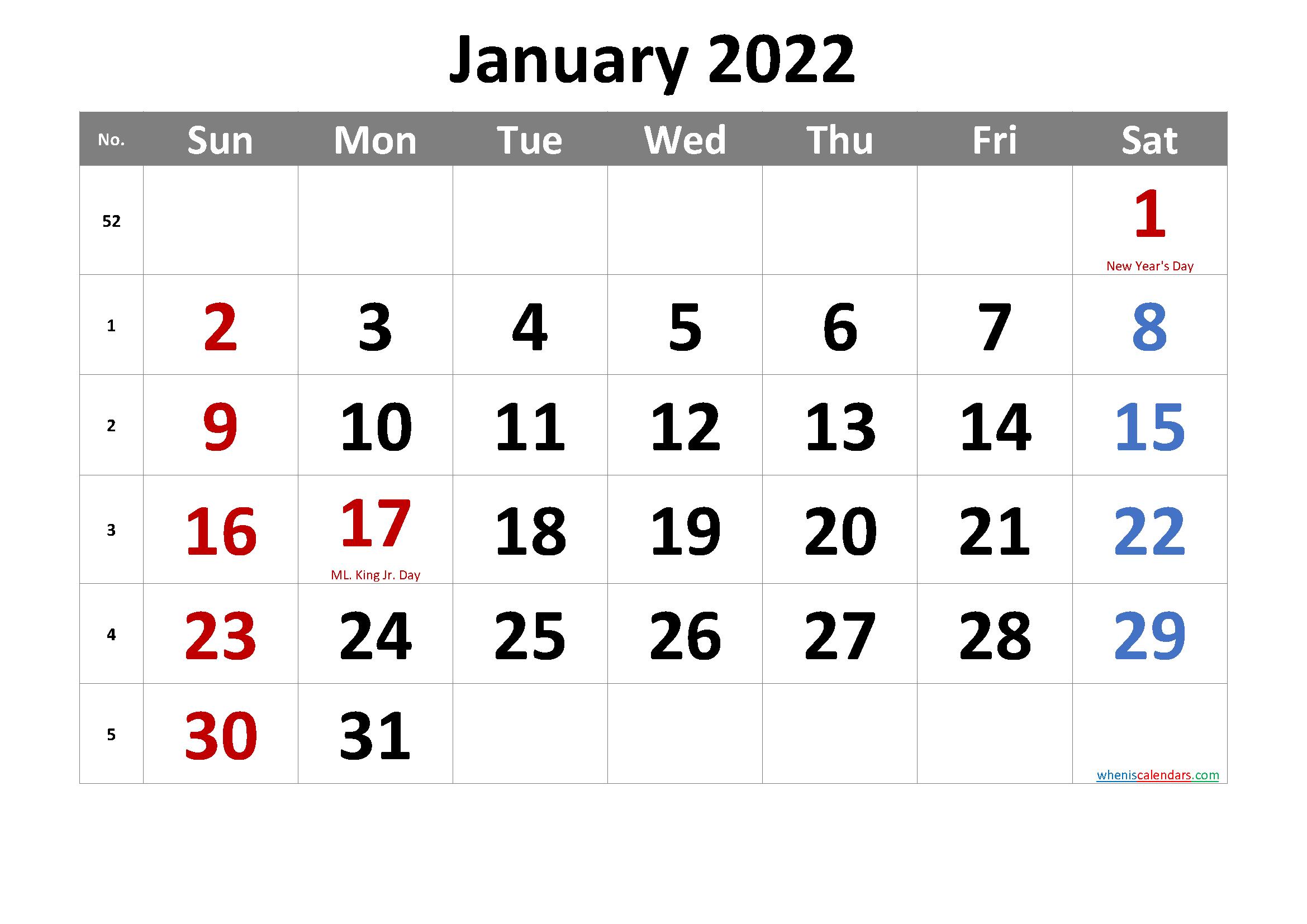 Free January 2022 Calendar Printable in Januarycalendar 2022 With Holidays