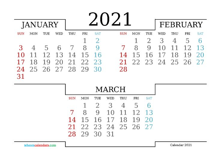 Free January February March 2021 Calendar Printable 214778 Inside January February March 2021 Calendar
