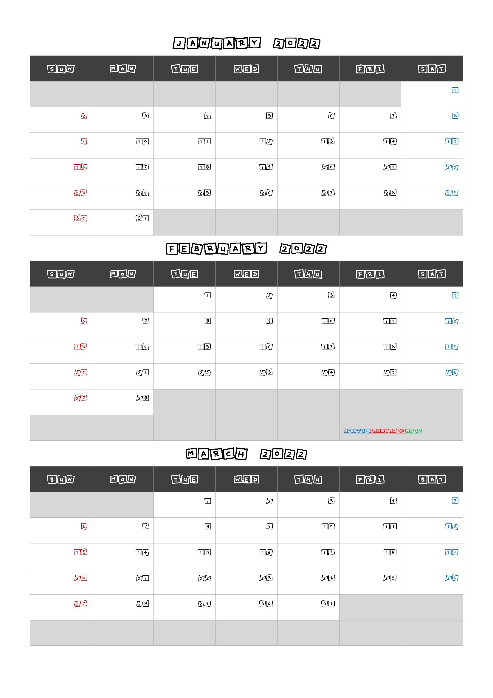 Free January February March 2022 Calendar [Q1 Q2 Q3 Q4] In Throughout January February March April May Calendar