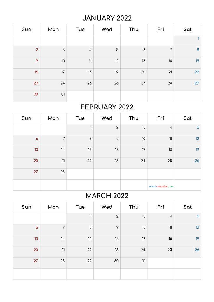 Free January February March 2022 Calendar [Q1 Q2 Q3 Q4 Regarding November December January February March Calendars