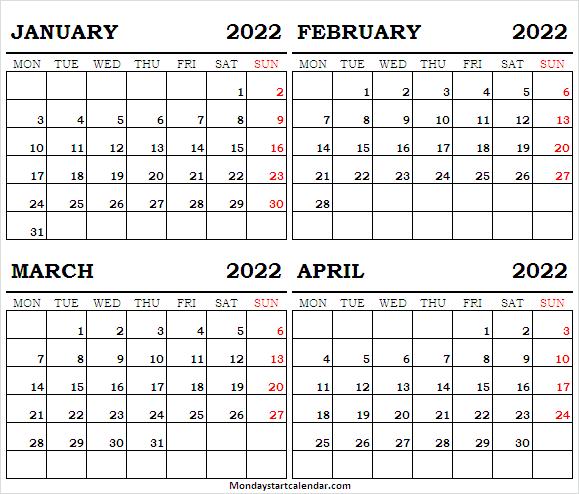 Free January To April 2022 Calendar Print – January 2022 Intended For January 2022 Calendar Monday Start