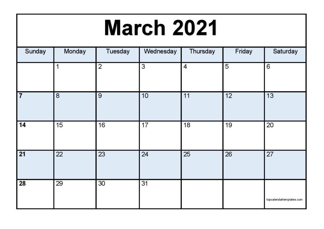 Free March 2021 Calendar Printable - Blank Templates With March 2021 Calendar Template