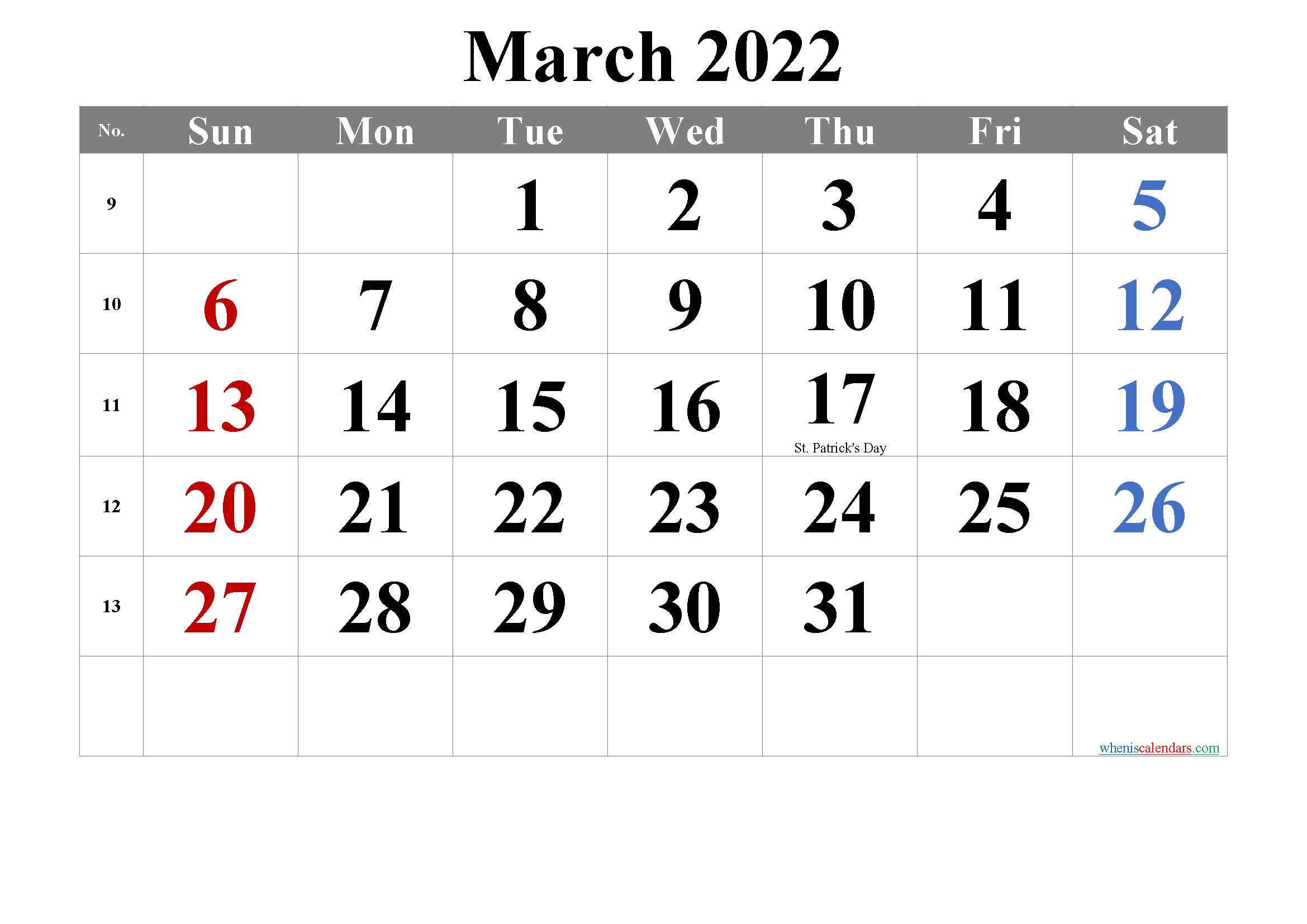 Free March 2022 Calendar Printable with Printable March 2022 Calendar
