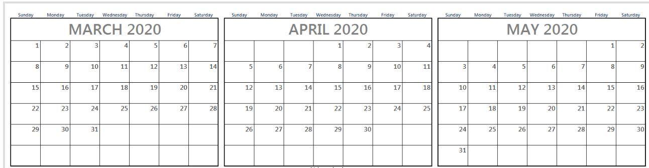 Free March April May 2020 Calendar Printable Templates In Pertaining To March April Calendar Printable