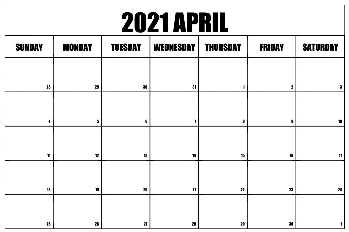 Free Monthly Blank April 2021 Calendar Printable Template Regarding January February March April May 2021
