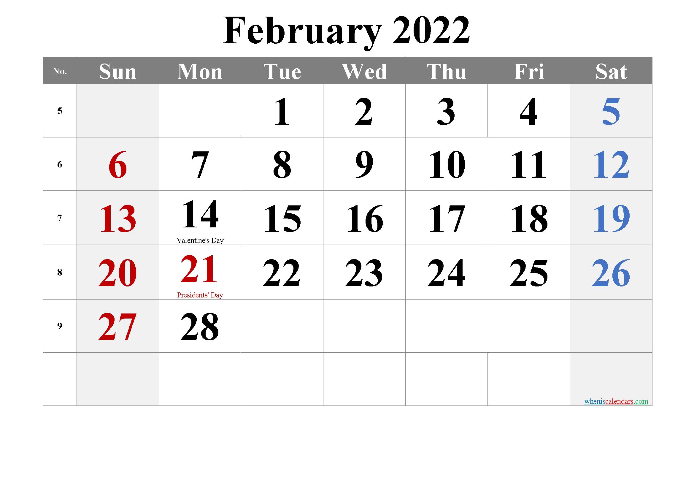 Free October 2022 Calendar Printable - 6 Templates   Free Intended For Feb 2022 Calendar Printable Free