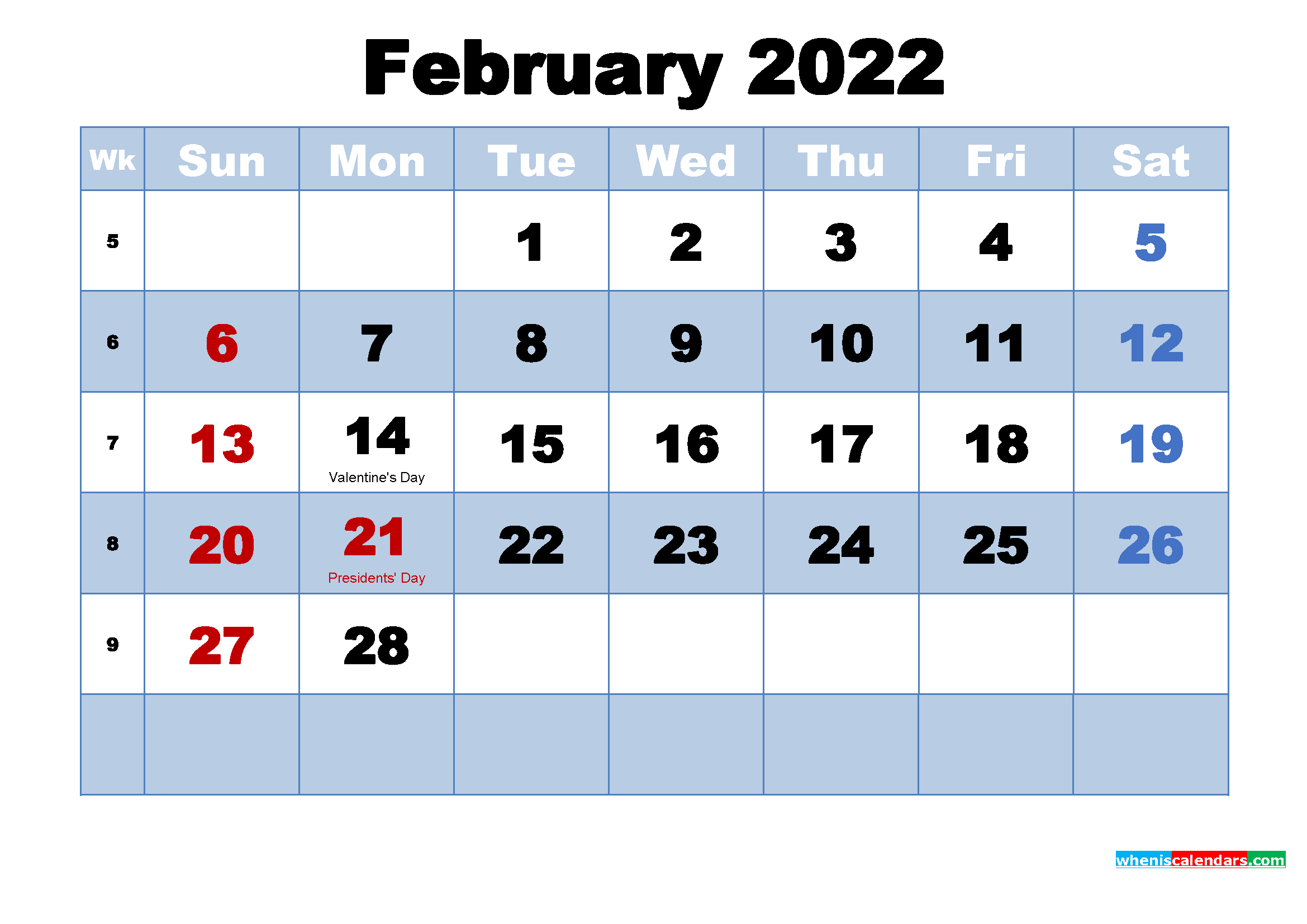 Free Printable 2022 Calendar February As Word, Pdf Regarding Free Printable Feb 2022 Calendar Templates