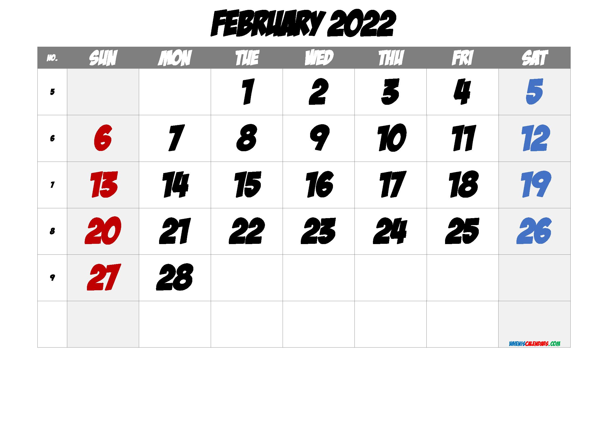 Free Printable 2022 February Calendar throughout 2022 Free Big Primt For Feb 2022