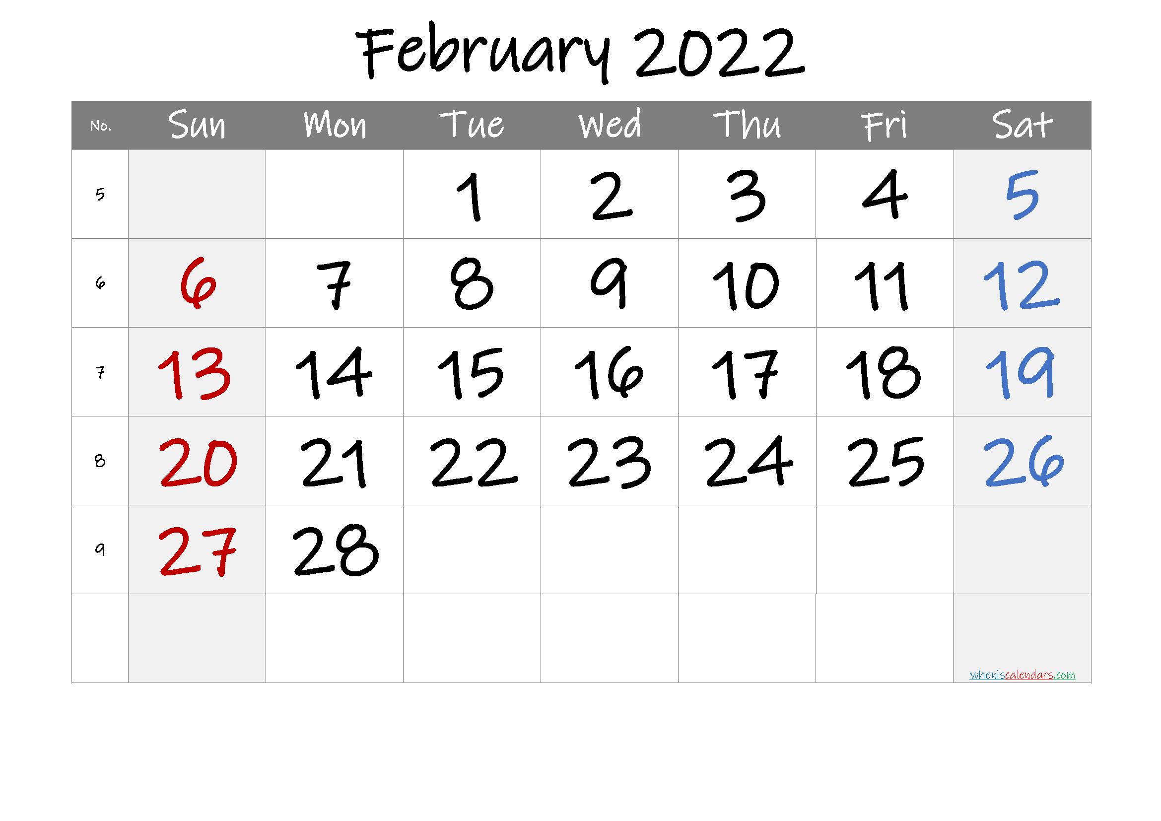 Free Printable 2022 February Calendar With Free Printable Calendar For February 2022