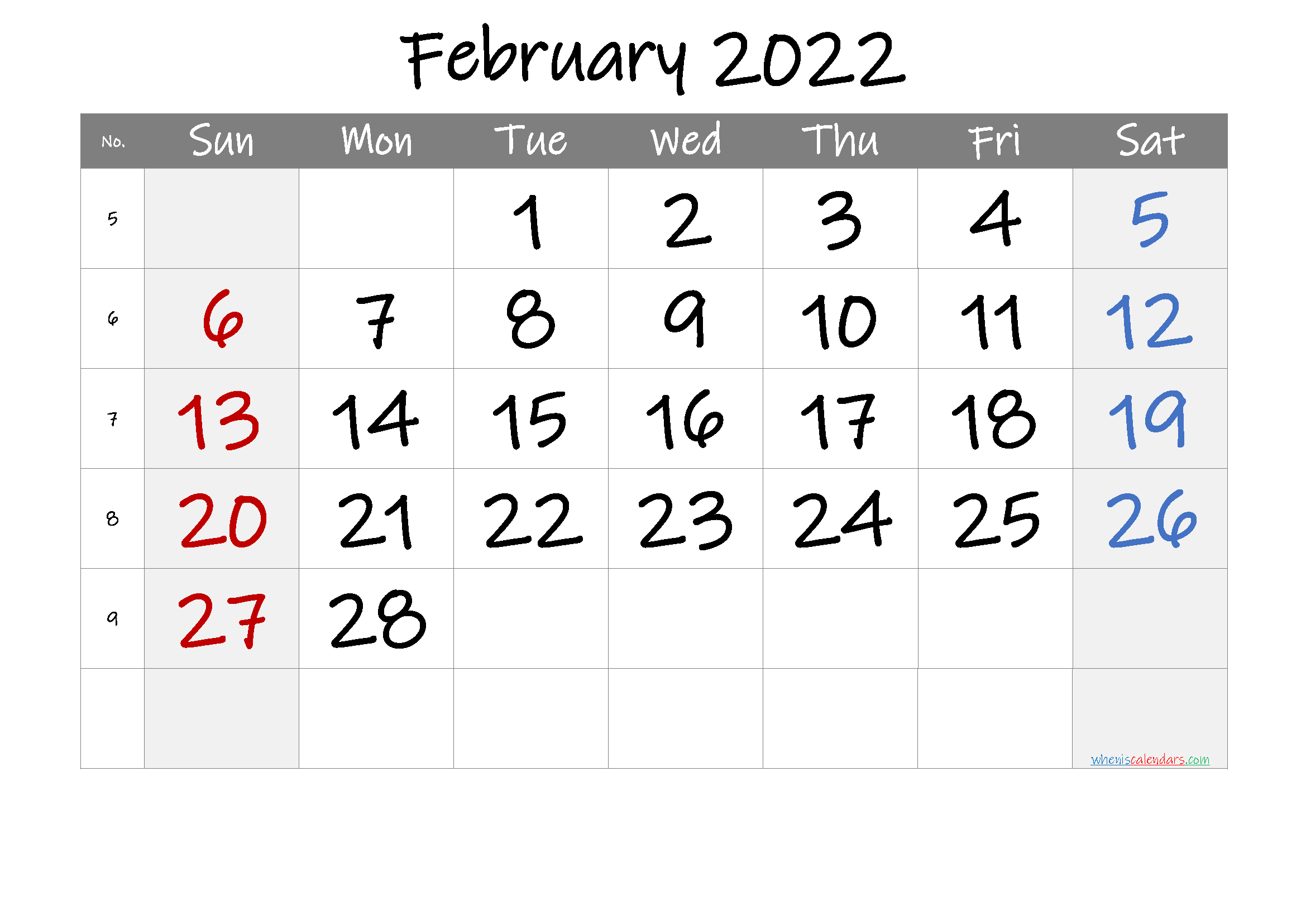 Free Printable 2022 February Calendar Within Printable Februaryy 2022 Calendar