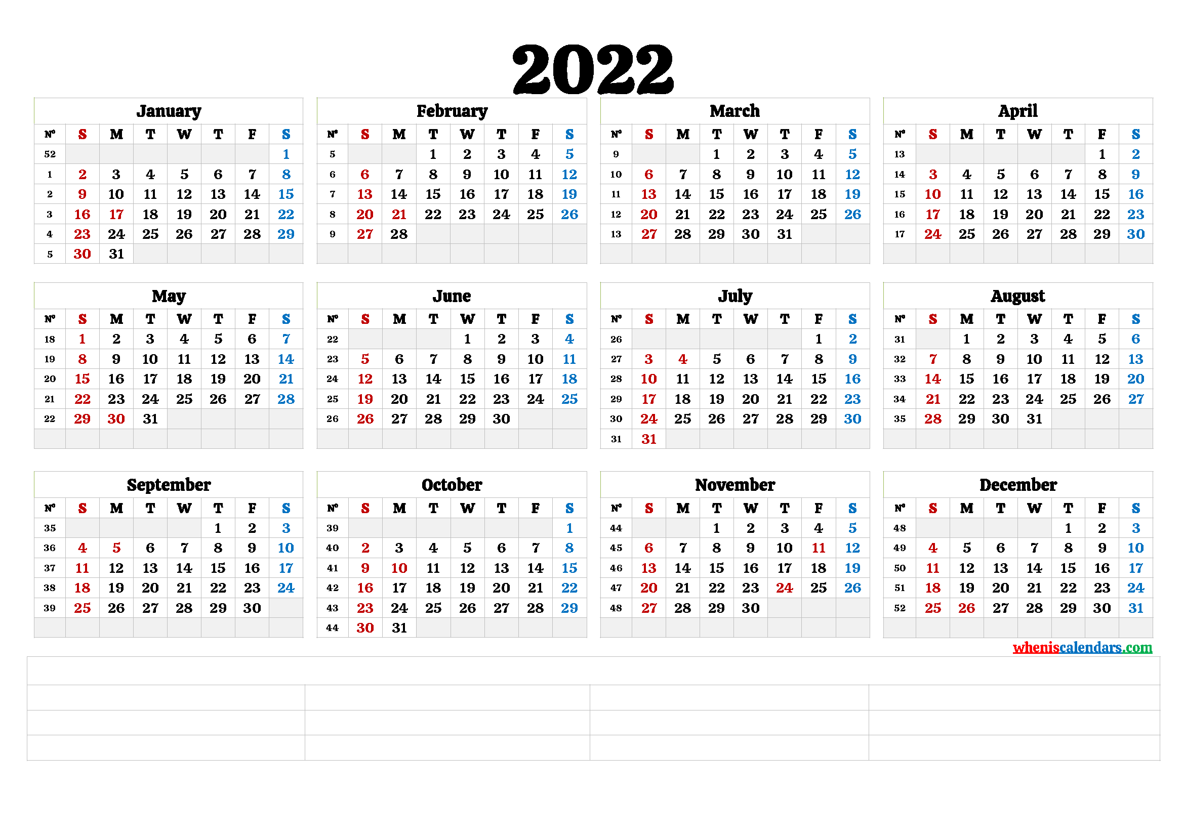 Free Printable 2022 Yearly Calendar (6 Templates) - Free in January 2022 Calendar Large Font