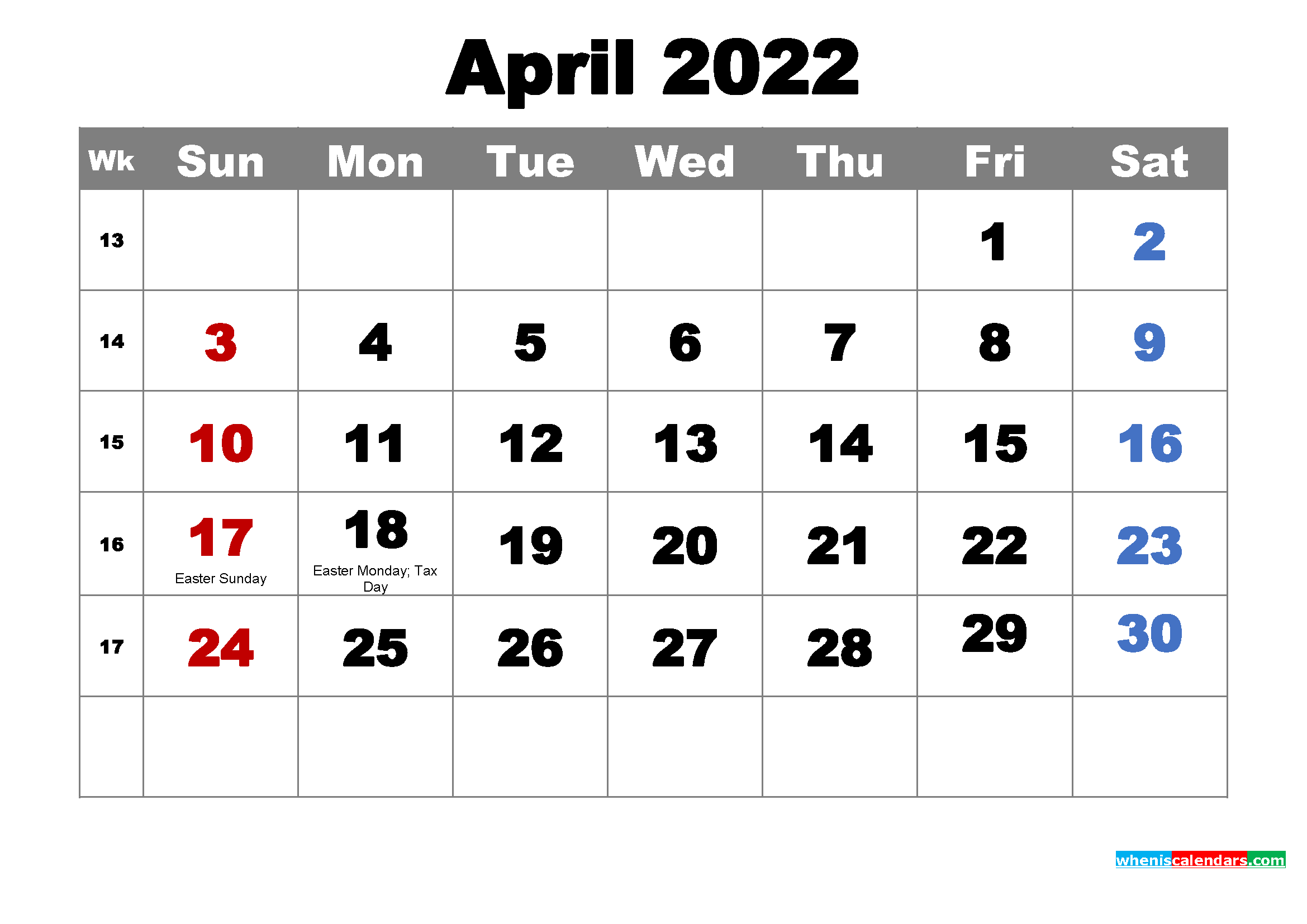 Free Printable April 2022 Calendar With Holidays As Word With Regard To March April May 2022 Calendar Print