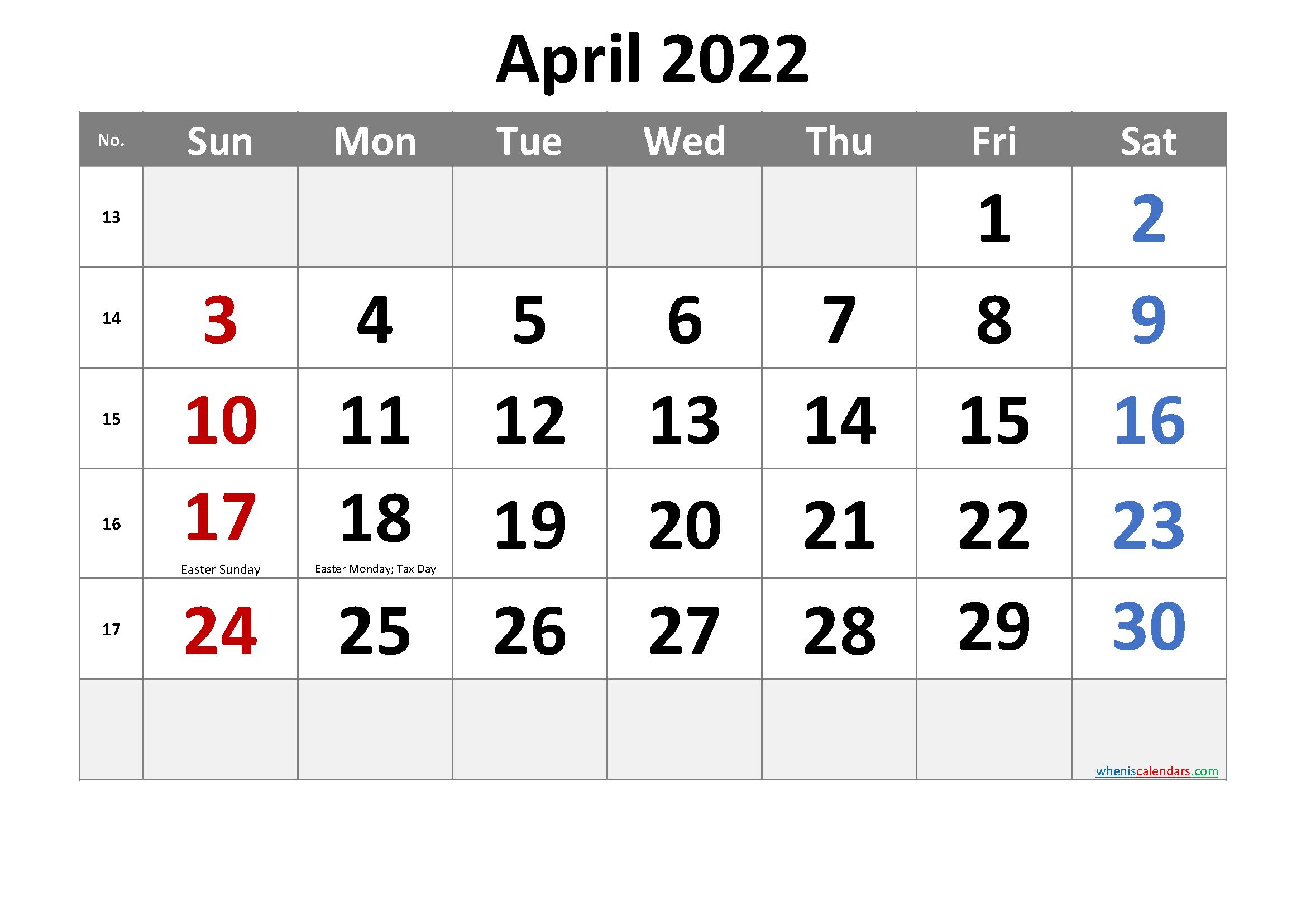 Free Printable April 2022 Calendar With Holidays With Regard To March & April 2022 Calendar Free Printable