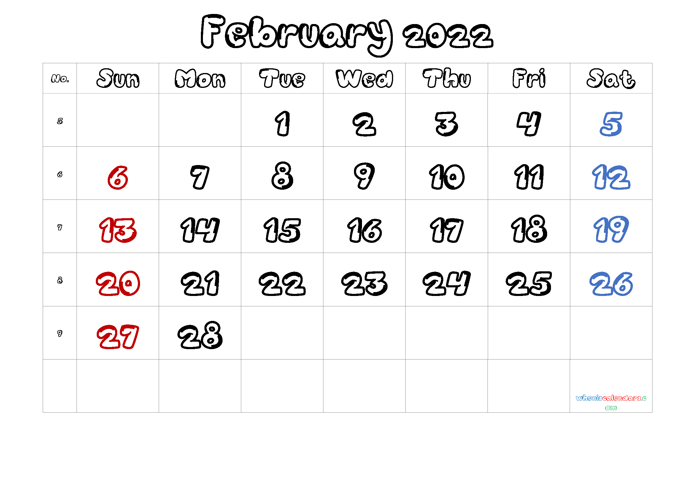 Free Printable Calendar February 2021 2022 And 2023 With 2022 Free Big Primt For Feb 2022