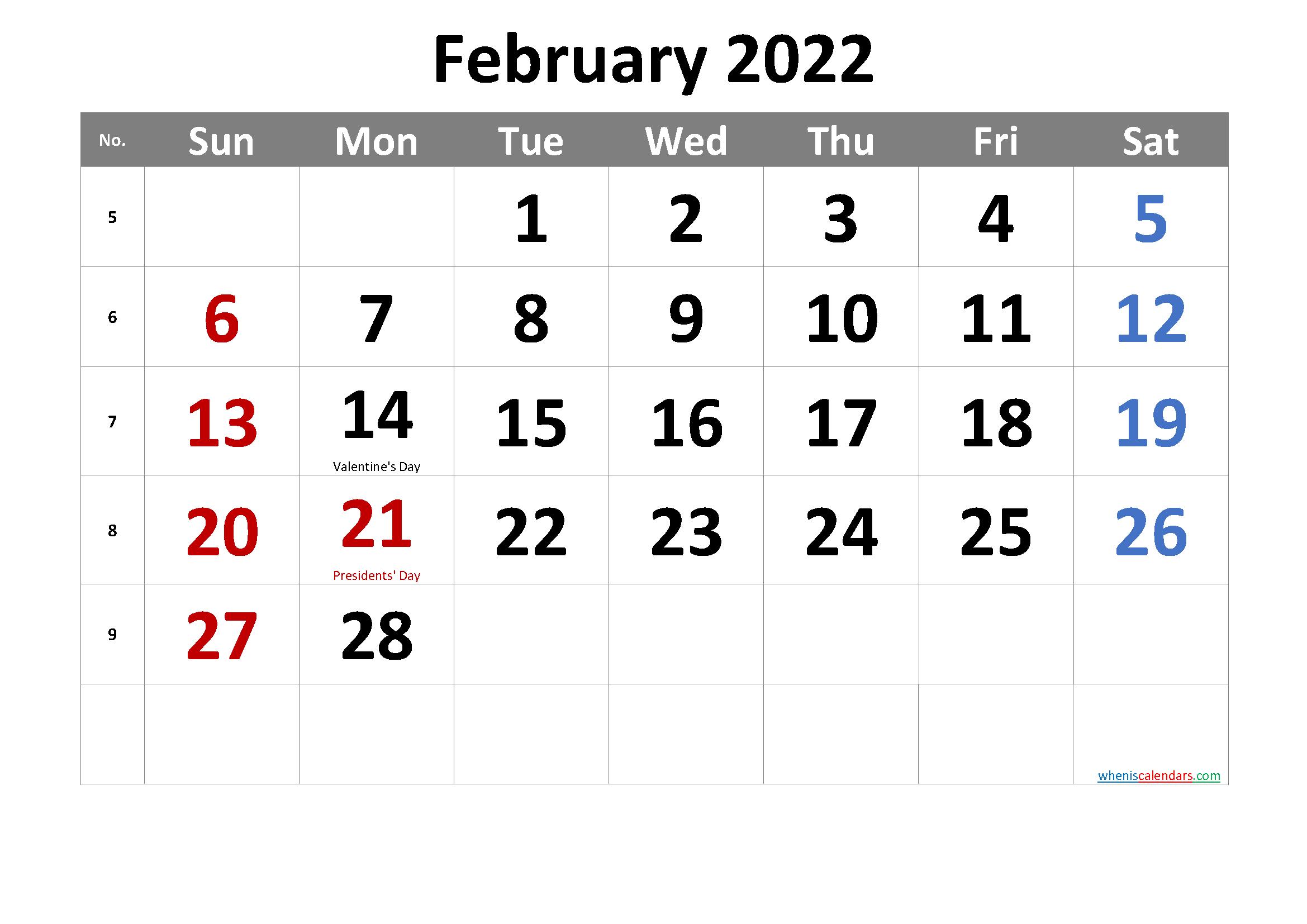 Free Printable February 2022 Calendar Intended For February 2022 Calendar Printable