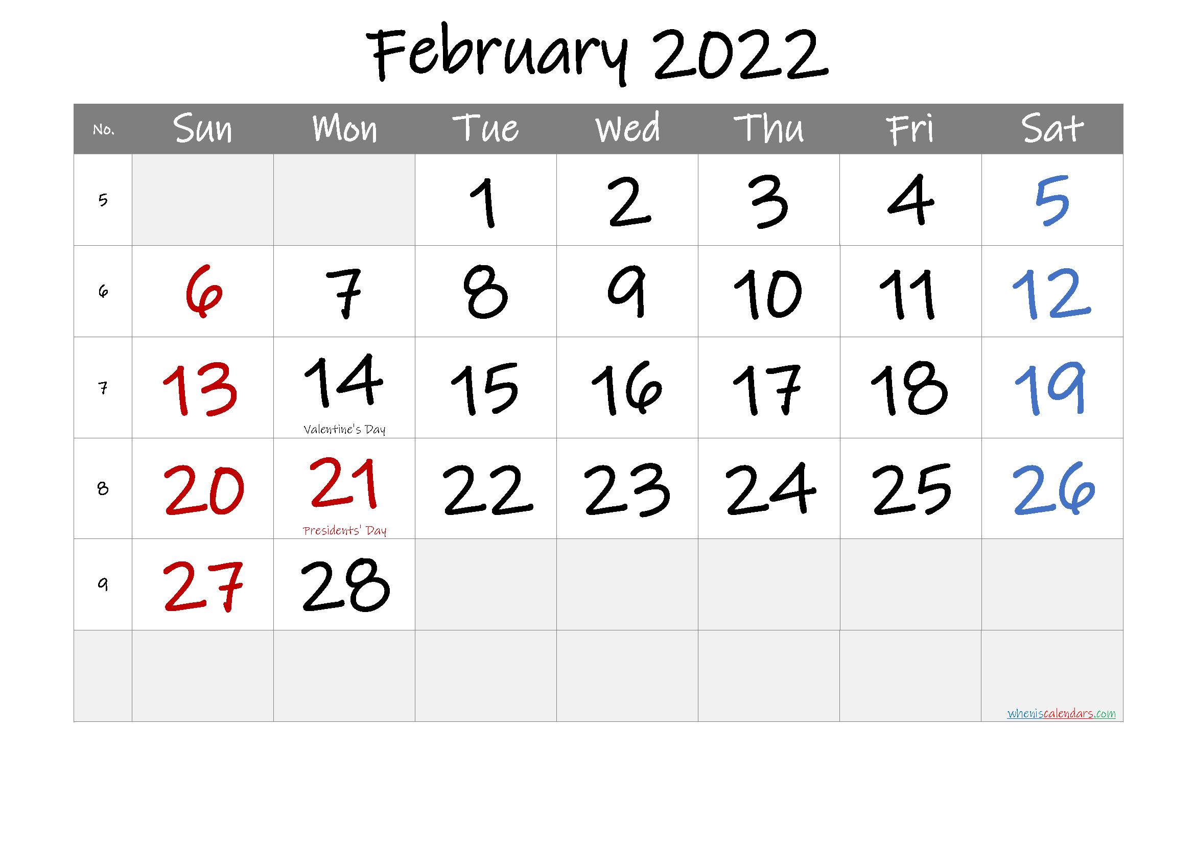 Free Printable February 2022 Calendar (Pdf And Png) In February 2022 Calendar Template