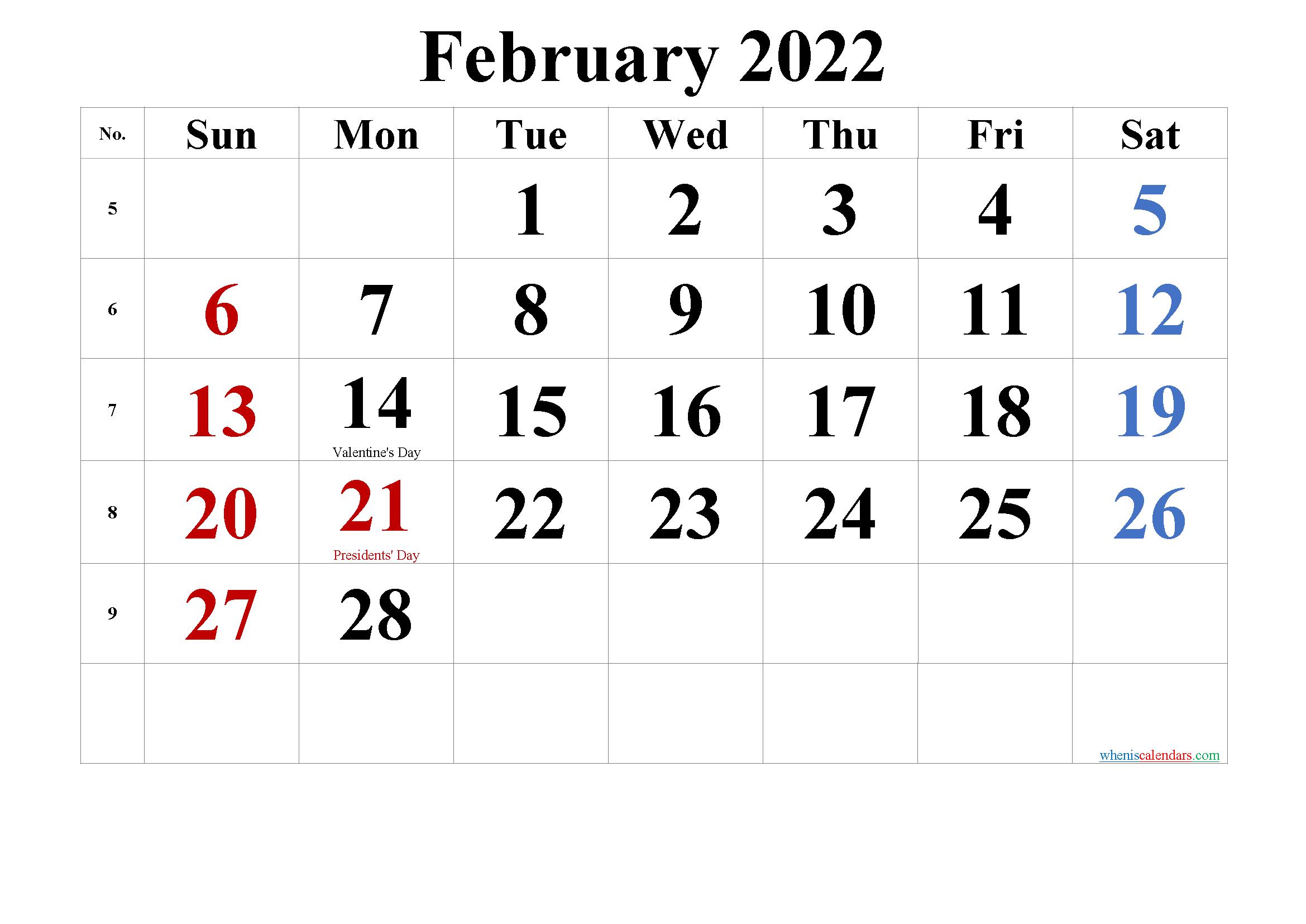 Free Printable February 2022 Calendar (Pdf And Png Inside Printable Februaryy 2022 Calendar