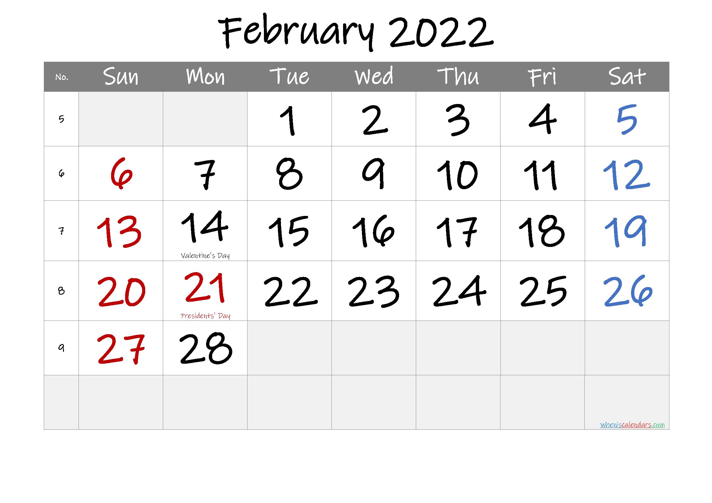 Free Printable February 2022 Calendar (Pdf And Png) throughout Free Printable Calendar February 2022