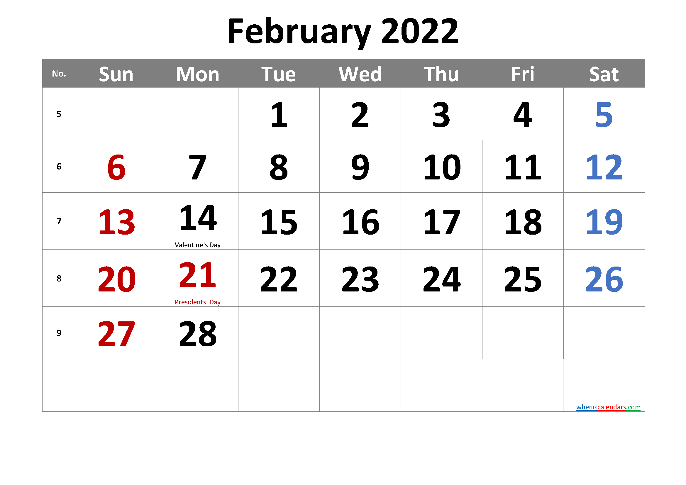Free Printable February 2022 Calendar Throughout Printable Calendar February 2022