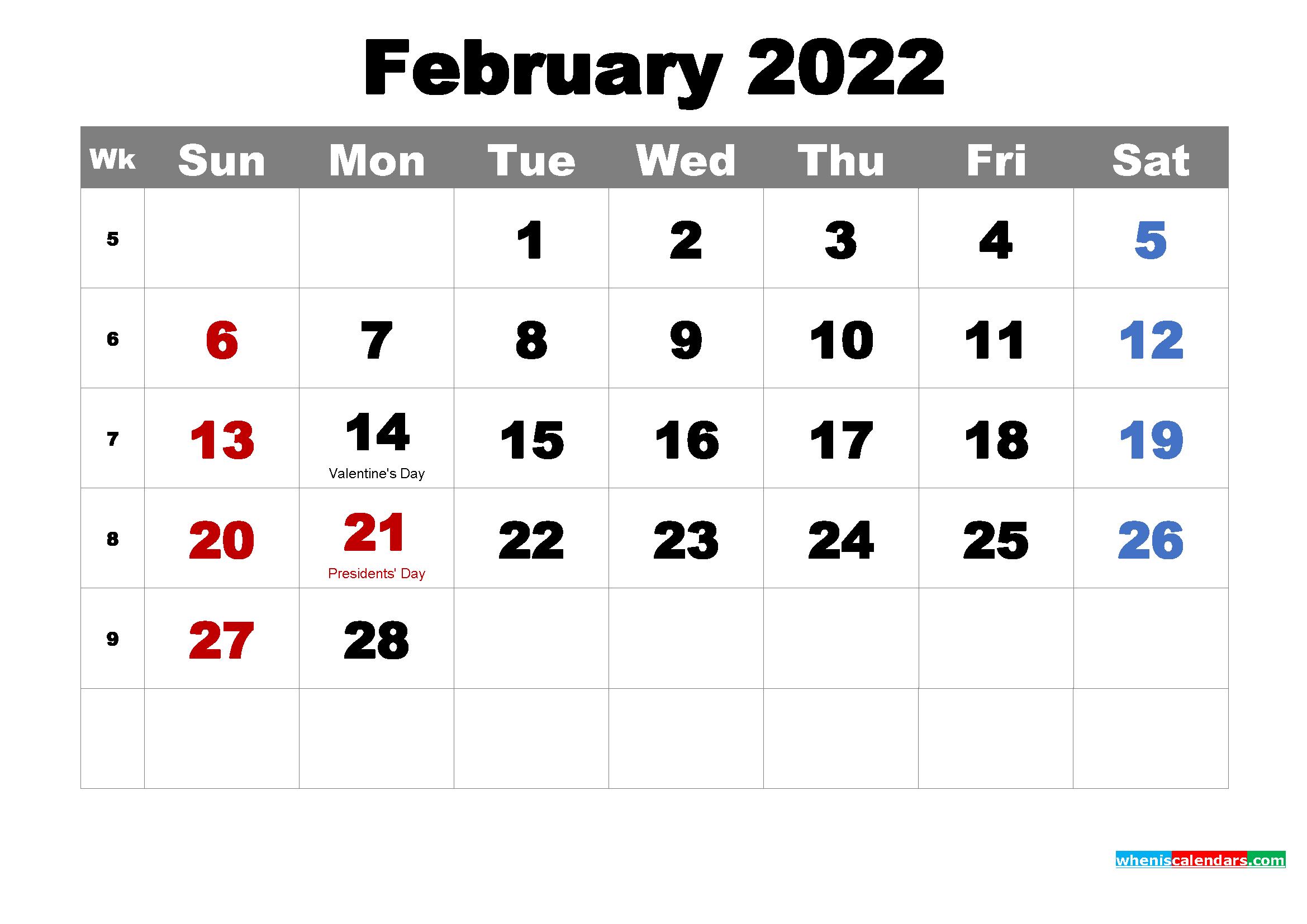 Free Printable February 2022 Calendar With Holidays As With Regard To Free Printable Feb 2022 Calendar Templates