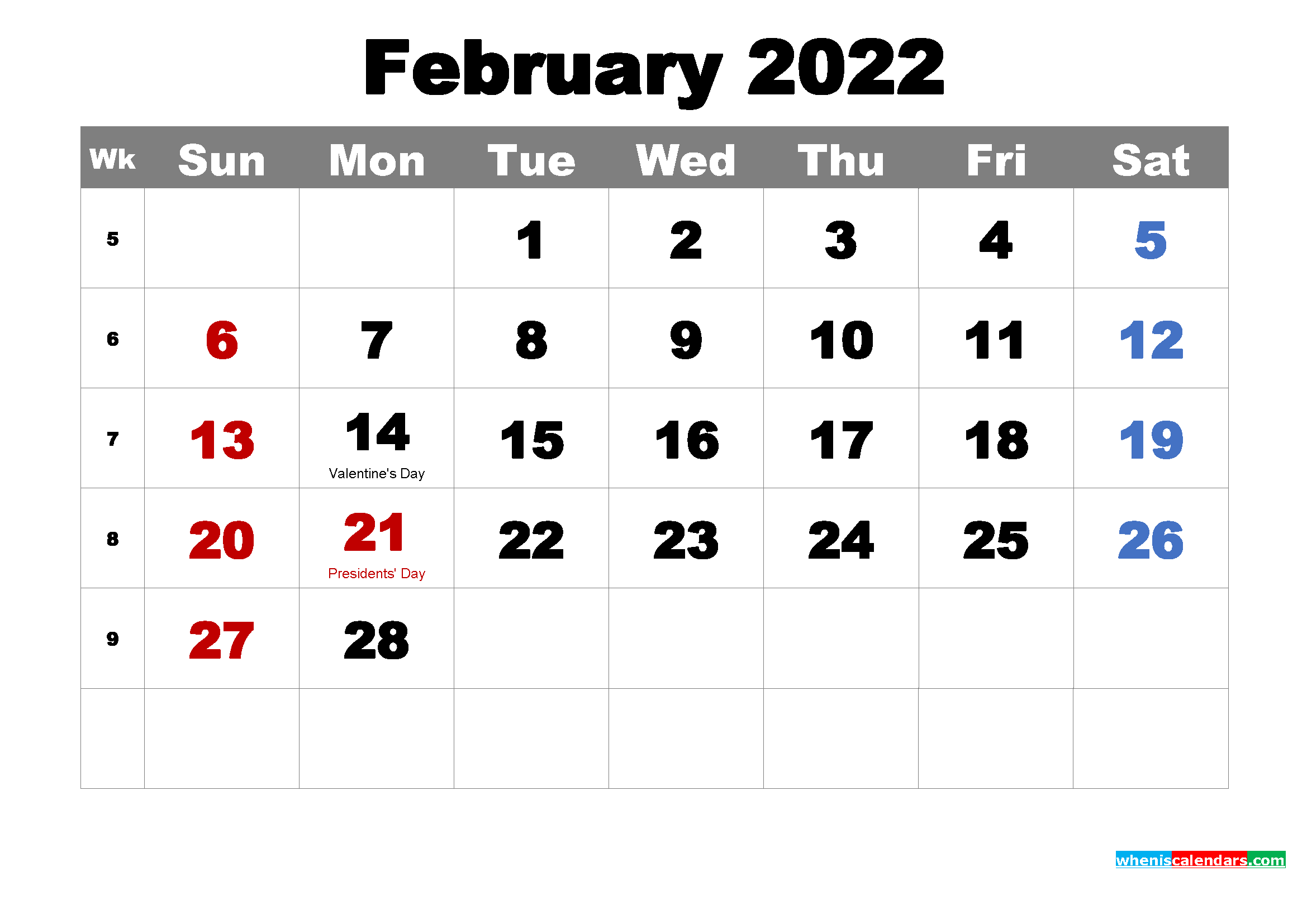 Free Printable February 2022 Calendar With Holidays As Within Feb 2022 Calendar Template