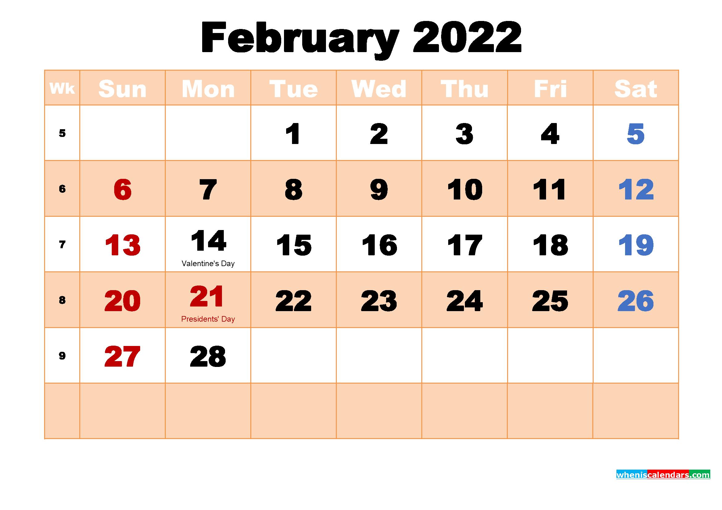 Free Printable February 2022 Calendar With Holidays With Printable Calendar February 2022
