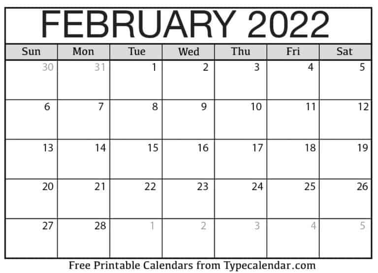 Free Printable February 2022 Calendars For Picture Of Calendar For February 2022