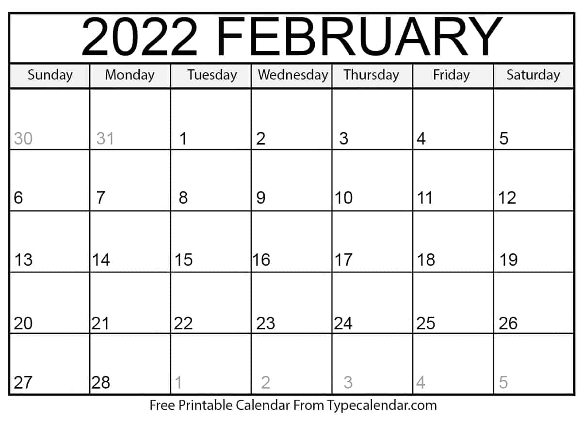 Free Printable February 2022 Calendars with Free Printable Calendar For February 2022