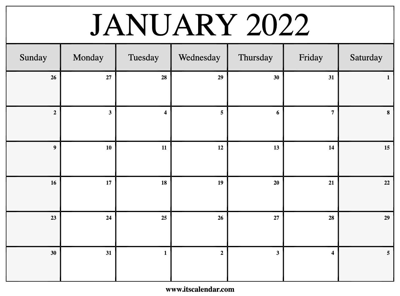 Free Printable January 2022 Calendar In Printable Calendar October 2022 To January 2022