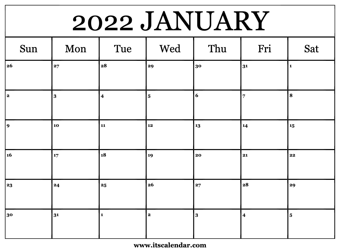 Free Printable January 2022 Calendar Regarding Printable Calendar October 2022 To January 2022