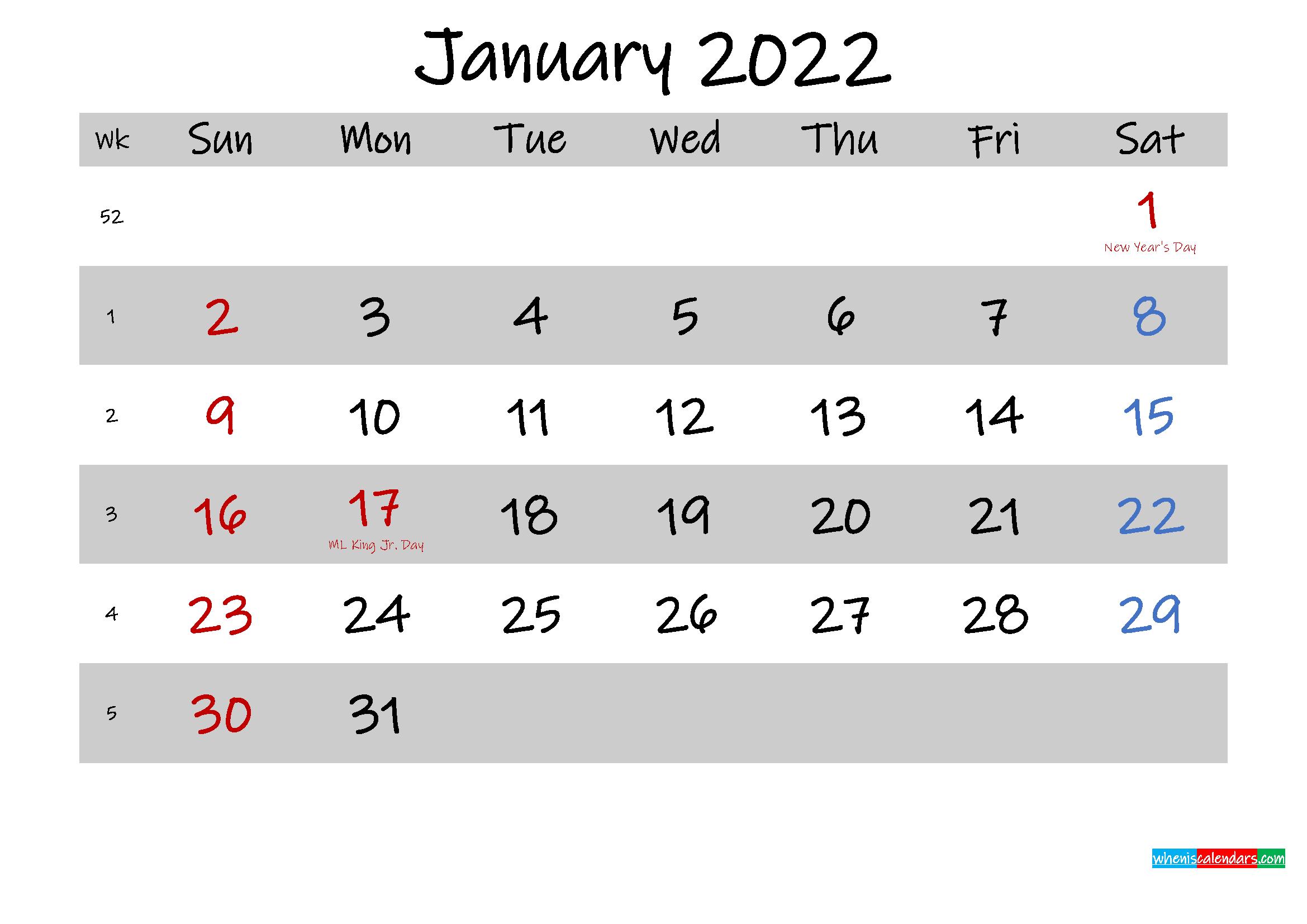 Free Printable January 2022 Calendar – Template No With Regard To January 2022 Free Printable Calendar