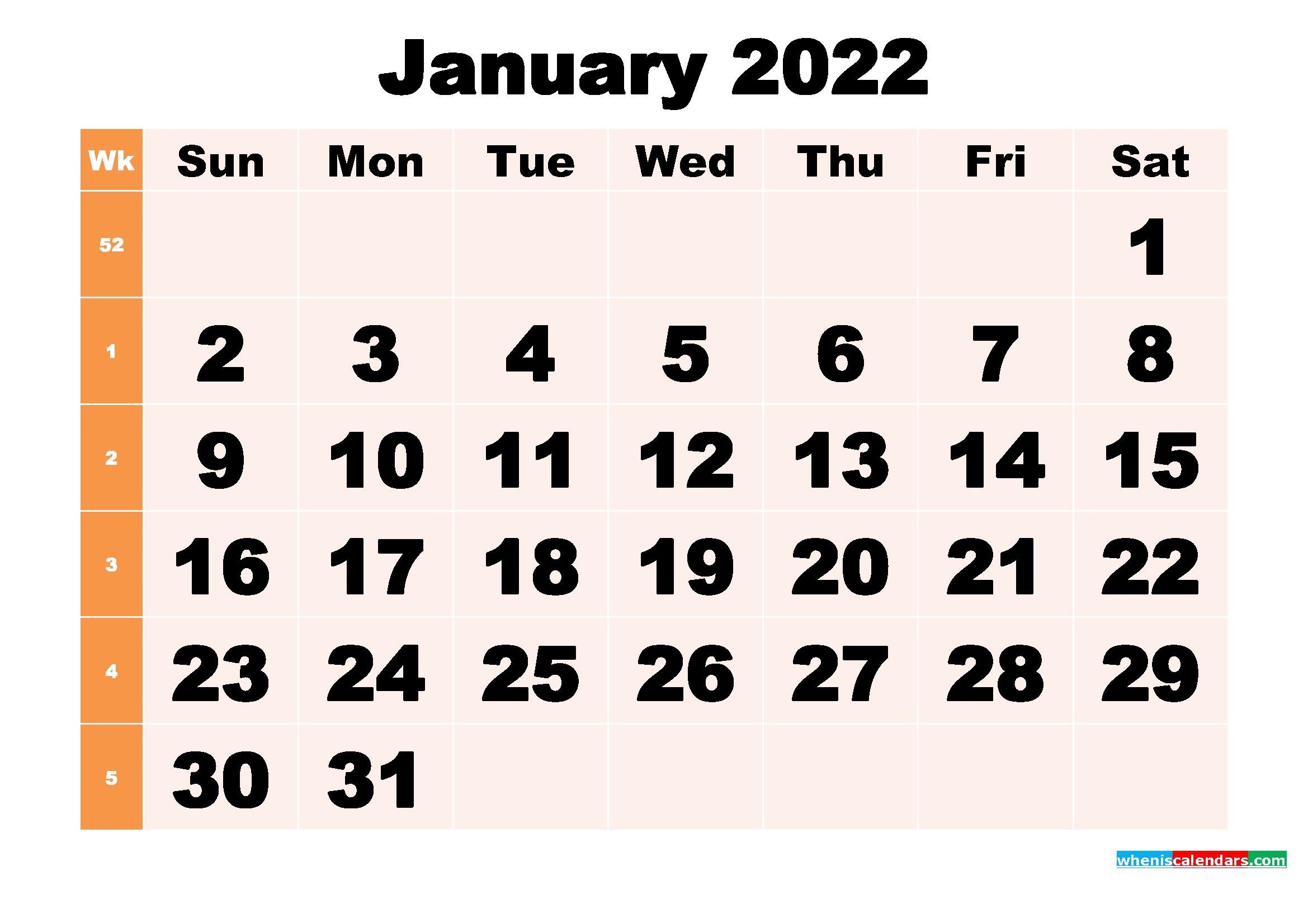Free Printable January 2022 Calendar Template Word, Pdf Throughout January 2022 Calendar Printable Free
