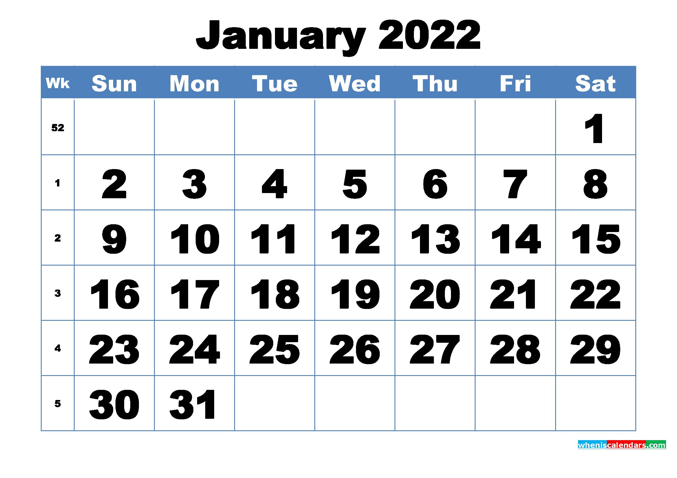 Free Printable January 2022 Calendar Template Word, Pdf With Regard To 2022 January Blank Calendar