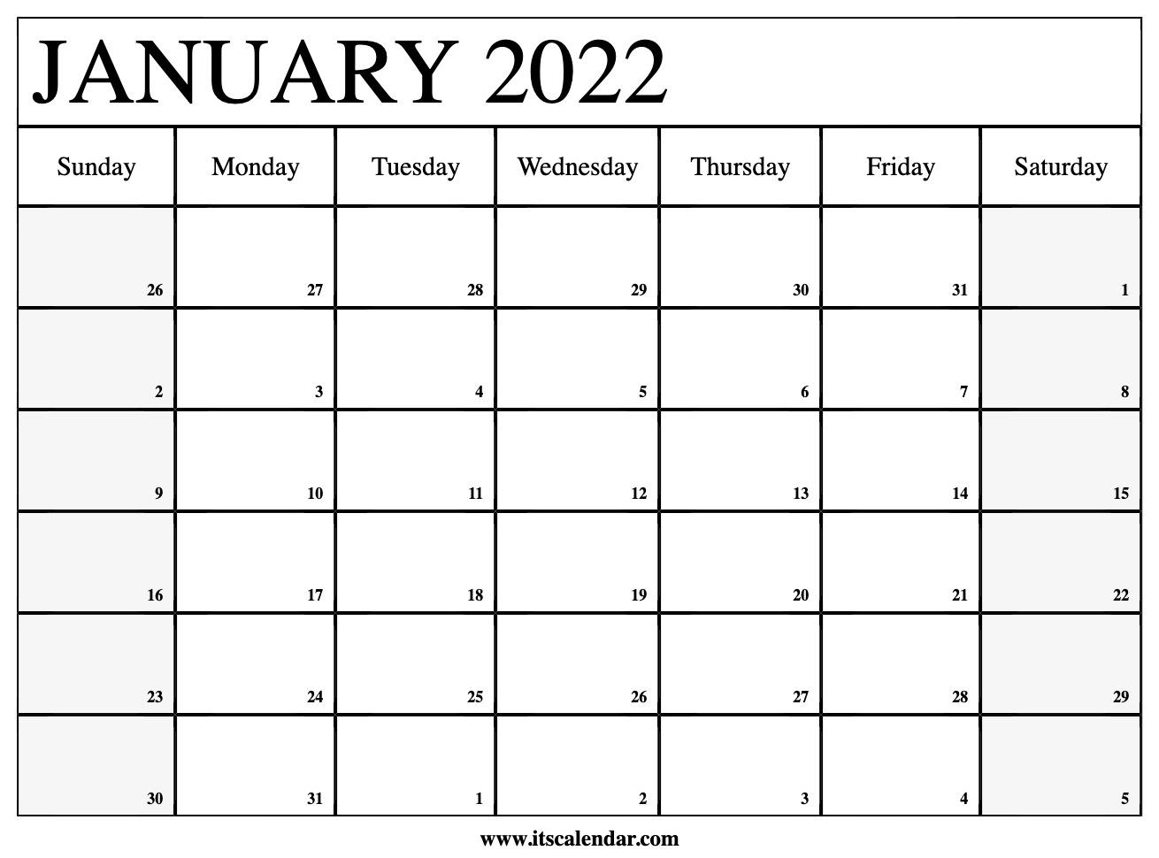 Free Printable January 2022 Calendar Throughout 2022 January Blank Calendar