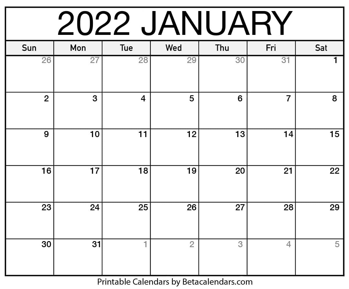 Free Printable January 2022 Calendar throughout Blank 2022 January Calendar