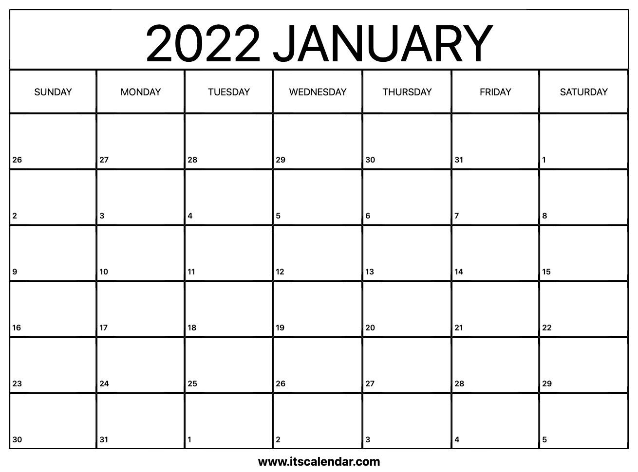 Free Printable January 2022 Calendar Throughout Blank Calendar January 2022 Printable