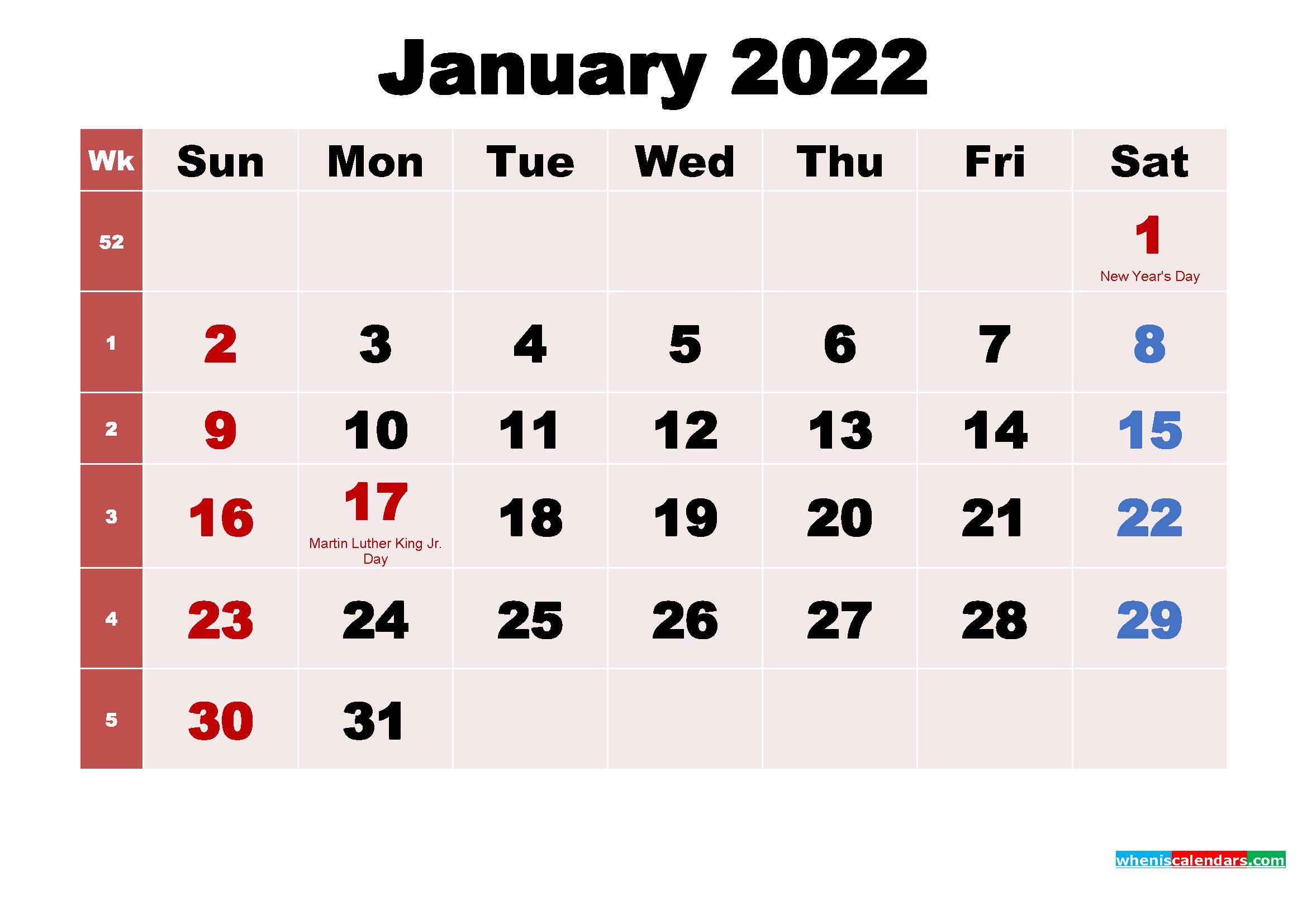 Free Printable January 2022 Calendar With Holidays As Word Throughout Calendar 2022 January Printable
