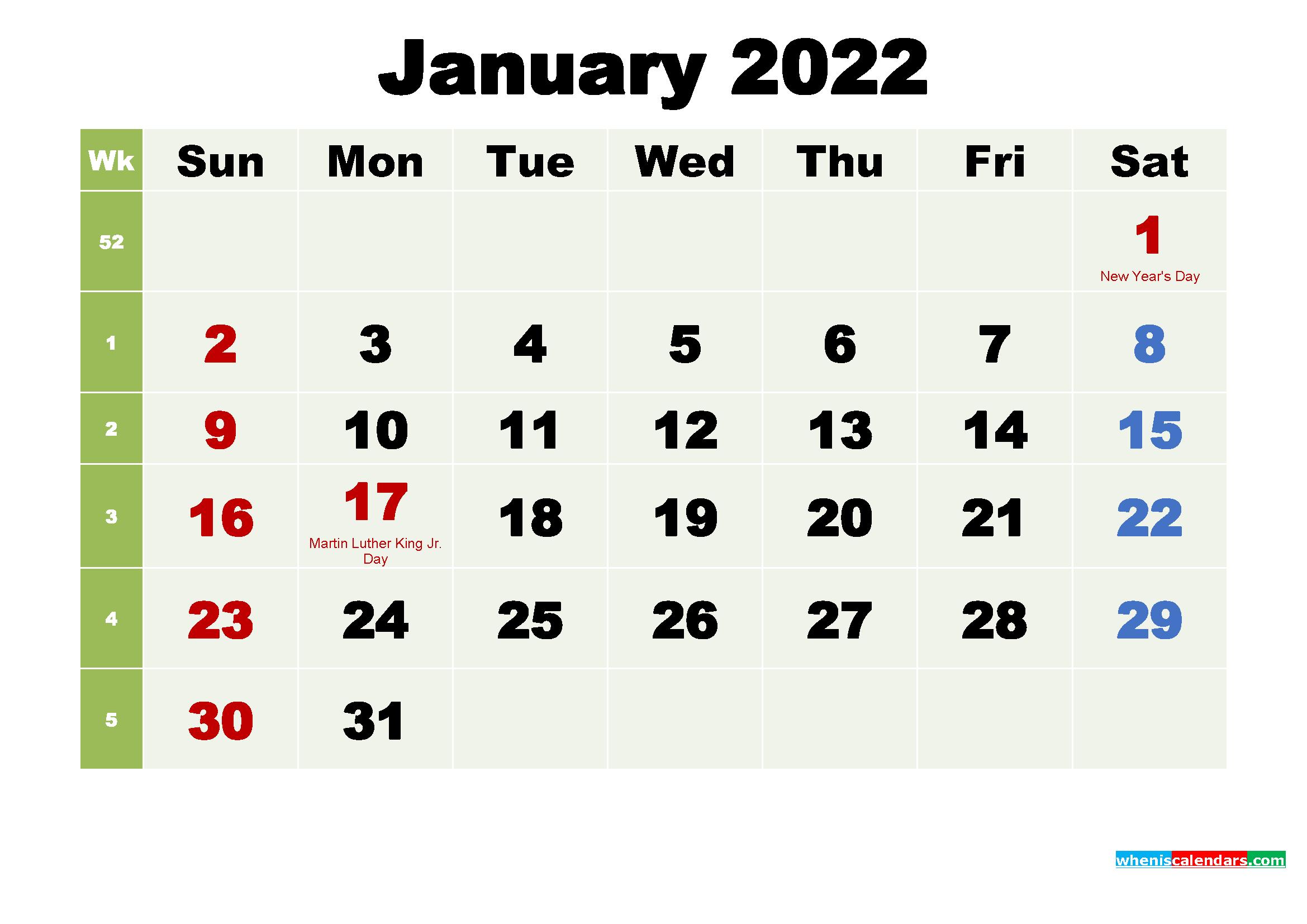 Free Printable January 2022 Calendar With Holidays - Free Regarding January Calendar 2022 Printable
