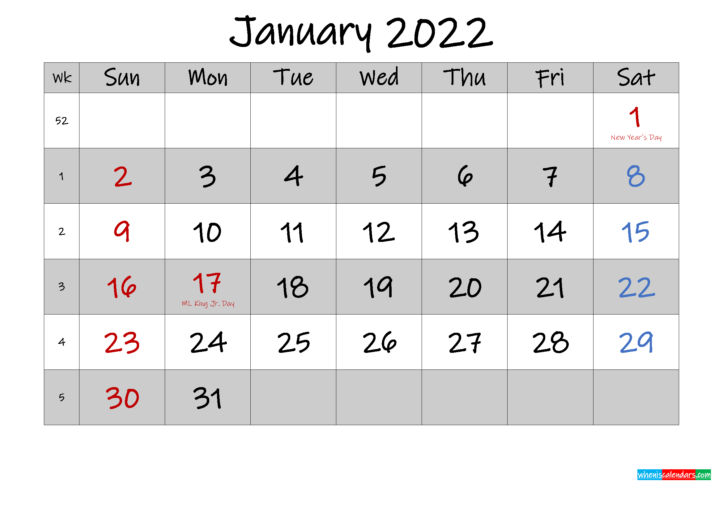 Free Printable January 2022 Calendar With Holidays In Blank Calendar January 2022 Printable