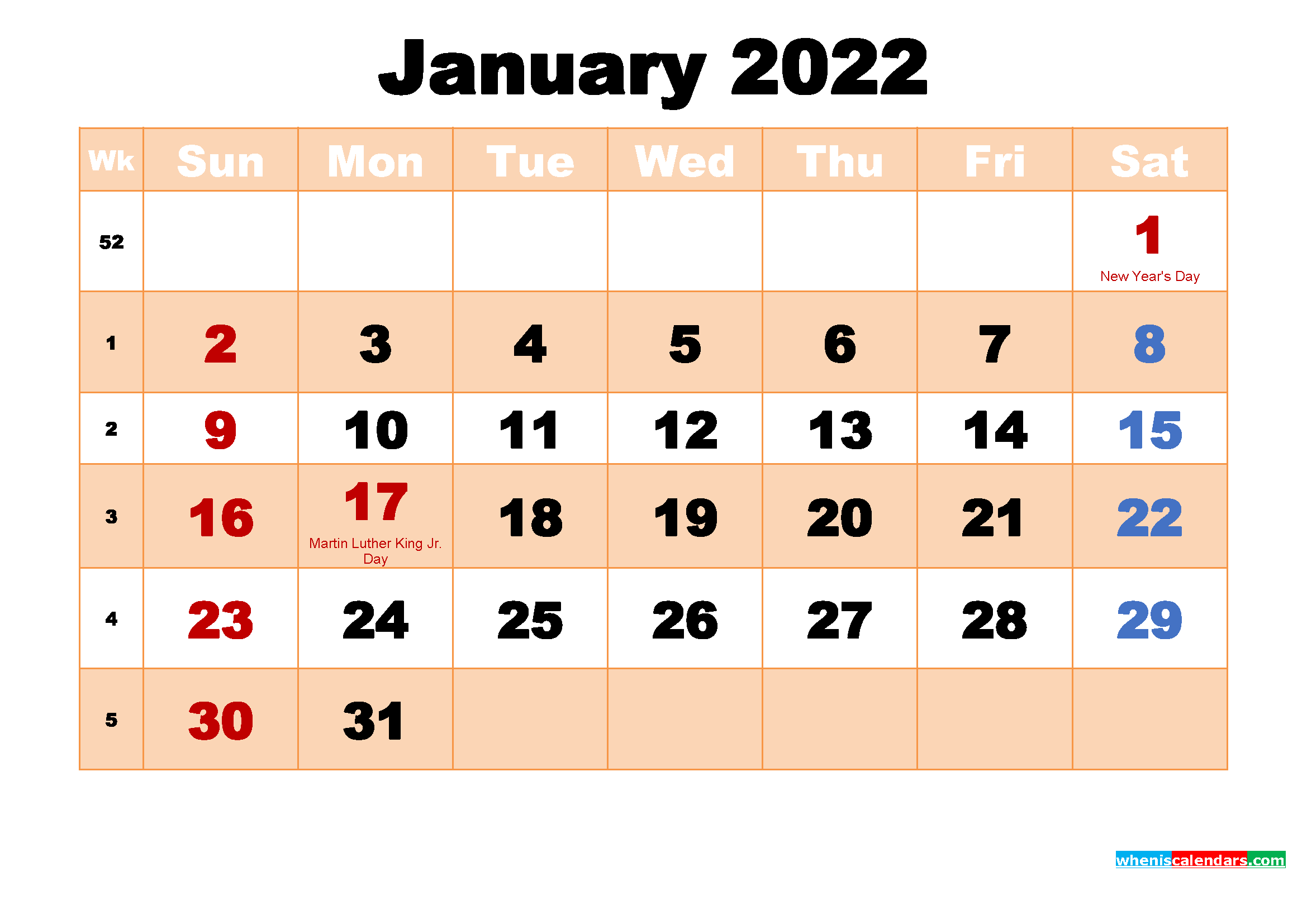 Free Printable January 2022 Calendar With Holidays Inside 2022 January Blank Calendar