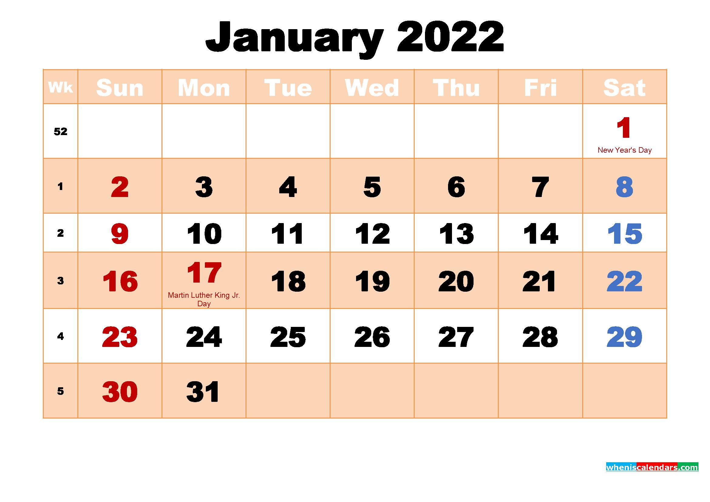 Free Printable January 2022 Calendar With Holidays With Regard To January Calendar Printable 2022