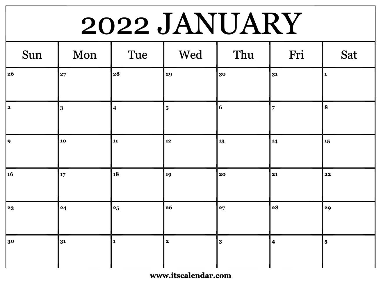 Free Printable January 2022 Calendar With Regard To Empty Calendar January 2022