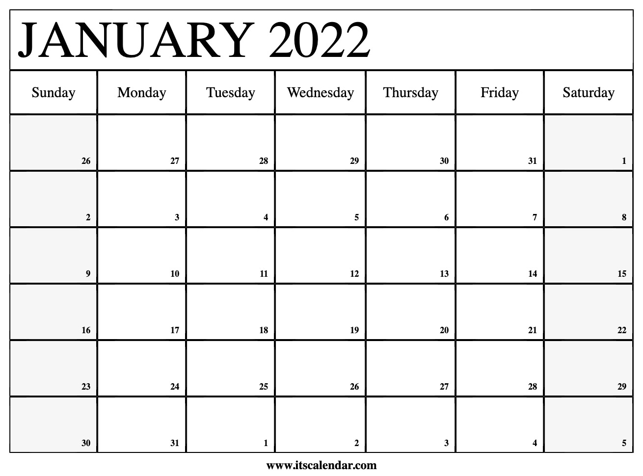 Free Printable January 2022 Calendar With Regard To Printable Calendars January 2022 To December 2022